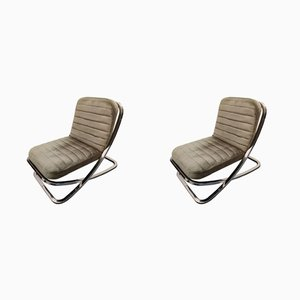 Mid-Century Chrome Easy Chairs, Set of 2