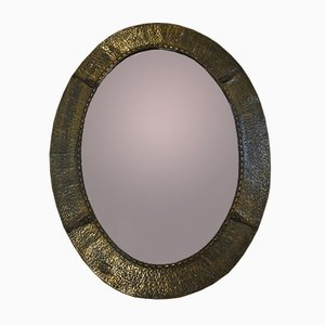 Hammered Brass Brutalist Mirror
