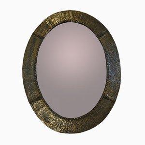 Specchio brutalista in ottone martellato