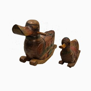 Handmade Hardwood Rocking Ducks, 1970s, Set of 2