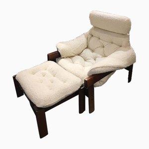 Brasilianischer Sessel & Fußhocker, 1960er, 2er Set