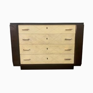 Art Deco Mahogany Chest of Drawers with Parchment Handles, 1940s