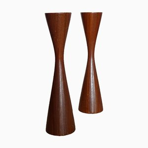 Teak Candleholders, 1960s, Set of 2