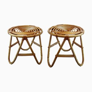 Wicker Side Tables, 1950s, Set of 2