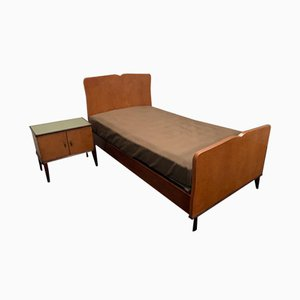 Bed and Nightstand Set In Blond Mahogany Wood, 1950s, Set of 2