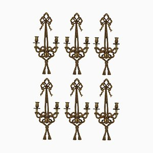 Vintage French Giltwood Sconces, 1940s, Set of 6