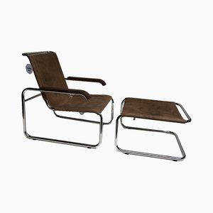 S35 Sessel & Fußhocker von Marcel Breuer für Thonet, 2010, 2er Set
