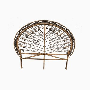 Rattan Peacock Headboard for a Bed, 1950s