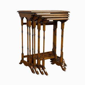 Antique English Walnut Nesting Tables, Set of 4