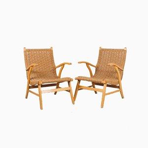 Vintage Beech Wood Armchair with Rope Seat by Janni Van Pelt for Bas Van Pelt, 1960s