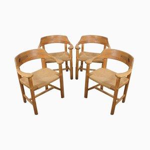 Sedie da pranzo in pino e corda di Rainer Daumiller per Hirtshals Savvaerk, anni '70, set di 4