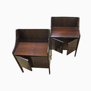 Mesas auxiliares italianas de madera y espejo. Juego de 2