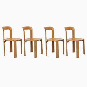 Beech & Plywood Model 33 Dining Chairs by Bruno Rey for Dietiker, 1970s, Set of 4