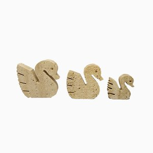 Travertine Swan Sculptures by Enzo Mari for Fratelli Mannelli, 1970s, Set of 3