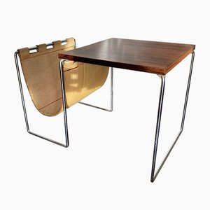 Mid-Century Teak Side Table With Saddle Leather Magazine Rack from Brabantia, 1950s