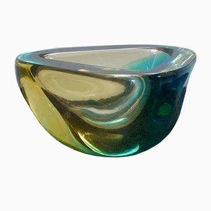 Murano Green & Yellow Glass Ashtray from Venini, 1960s