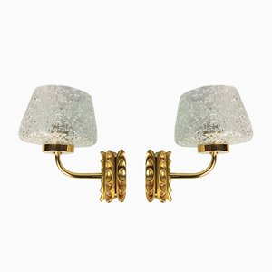 Murano Glass & Gilt Metal Sconces, 1960s, Set of 2