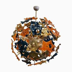 Sputnik Murano Art Glass Blue Orange and Gold Chandelier, 1990s