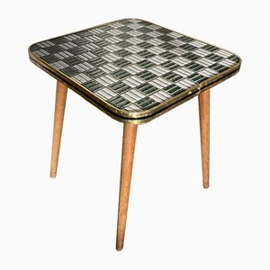 Mid-Century Birch, Brass and Ceramic Side Table, 1950s