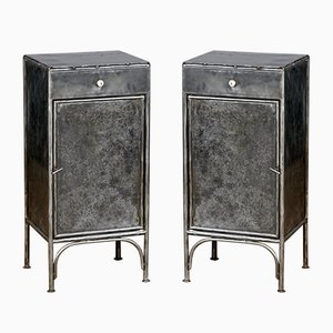 Polished Iron Nightstands, 1920s, Set of 2