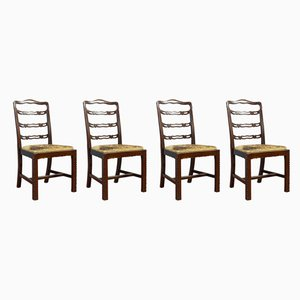 Antique Irish Mahogany Ladder Back Chairs, Set of 4