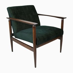 Vintage Green-Gold Velvet Lounge Chair, 1970s