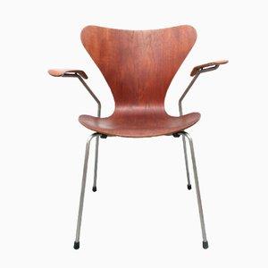 Teak Armlehnstuhl 3207 von Arne Jacobsen für Fritz Hansen, 1960er