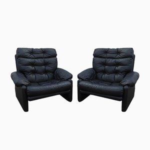 Leather Coronado Lounge Chairs by Tobia & Afra Scarpa for B&B Italia / C&B Italia, 1970s, Set of 2