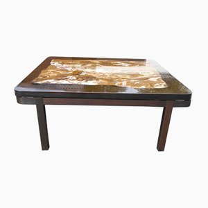 Dark Brown Belgian Epoxy Marble Inlay Coffee Table by Etienne Allemeersch, 1970s