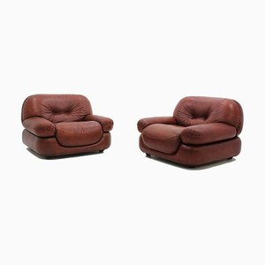 Sapporo Cognac Leather Armchairs from Girgi, 1970s, Set of 2