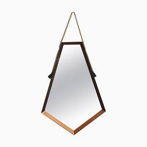 Moderner Mid-Century Spiegel mit fünfeckigem Rahmen, 1960er