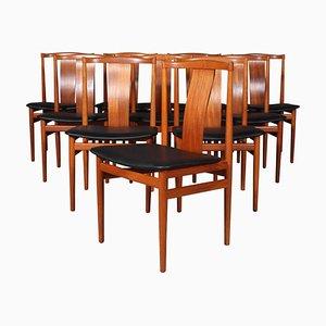 Teak Chairs, 1960s, Set of 10