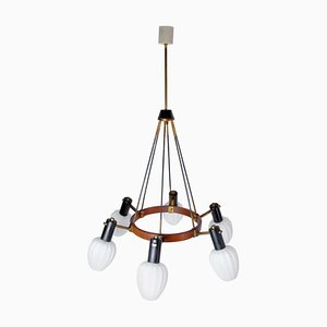 Mid-Century Italian Teak and Opaline Glass Chandelier