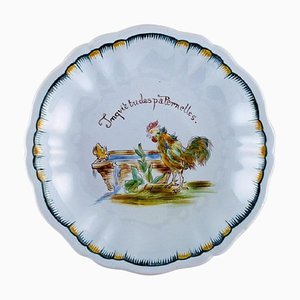 Antique Nancy Compote in Hand-Painted Faience by Emile Gallé for St. Clement