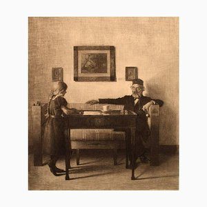 Peter Ilsted, Interior with Young Girl and Older Gentleman, Etching