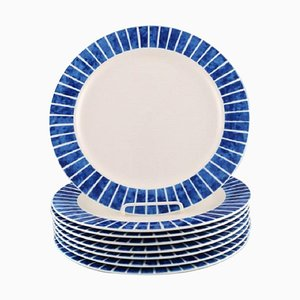Glazed Stoneware Plates with Blue Stripes by Jackie Lynd for Duka, Set of 8