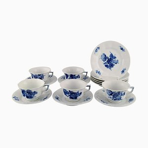 Angular Blue Flower Coffee Cups with Saucers and Plates from Royal Copenhagen, 1940s, Set of 15