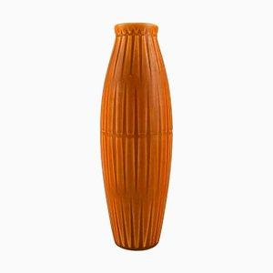 Vase in Glazed Ceramics with Ribbed Body by Bo Fajans, 1960s