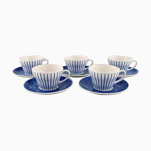 Teacups with Saucers in Glazed Ceramic by Jackie Lynd for Duka, Set of 10
