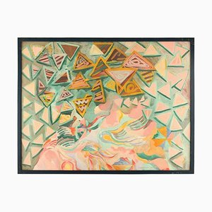 Ingrid Olson, Abstract Composition, 1990, Oil on Cardboard