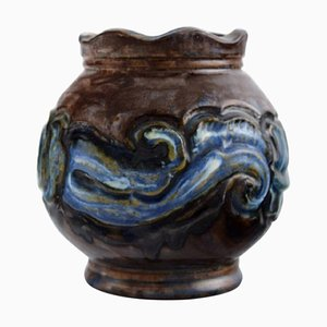 Antique Art Nouveau Vase in Glazed Ceramic from Moller & Bøgely