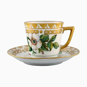 Coffee Cup with Saucer in Hand Painted Porcelain from Royal Copenhagen, 1960s, Set of 4