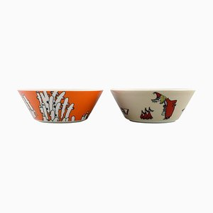 Porcelain Bowls with Moomin Motifs from Arabia, Set of 2