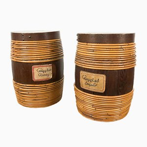 Vintage Cocked Wooden Storage Barrel with Willow Rods , Set of 2