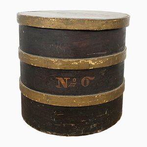 Antique Brown Gold Painted Bentwood Storage Box