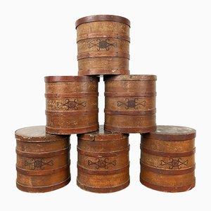 Antique Tobacco Shop Storage Boxes, Set of 6