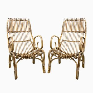 Vintage Rattan Armchairs, Set of 2