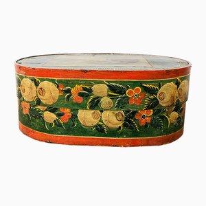 Antique Green Orange Painted German Bride Box