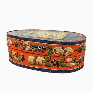 Antique Blue Orange Painted German Bride Box