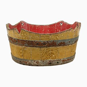 Antique Cocked Painted Wooden Bucket Wash Tub